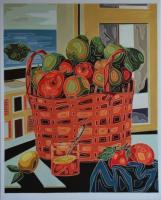 Still Life - Basket With Fruit - Oil On Linen